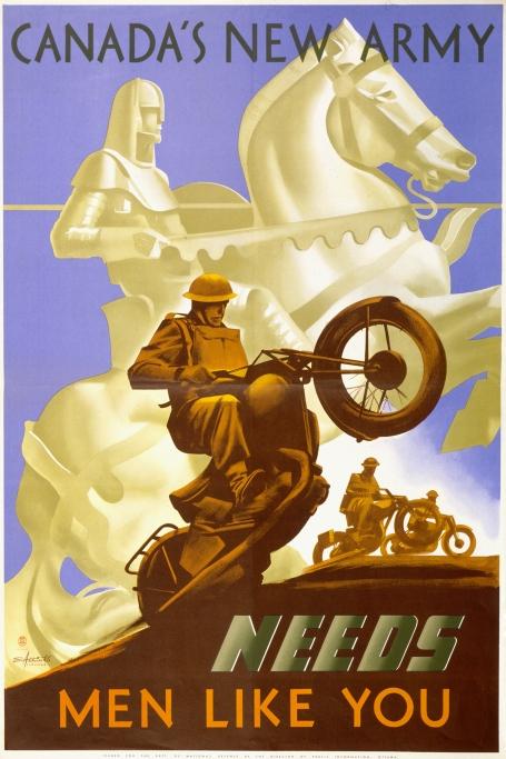 Canada's New Army...Motorcycle Wheelie Brigade (Canada, 1942)