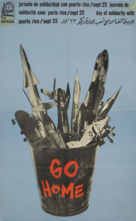 Go home - Day of Solidarity with Puerto Rico, OSPAAAL poster by Heriberto Echeverría, 1970