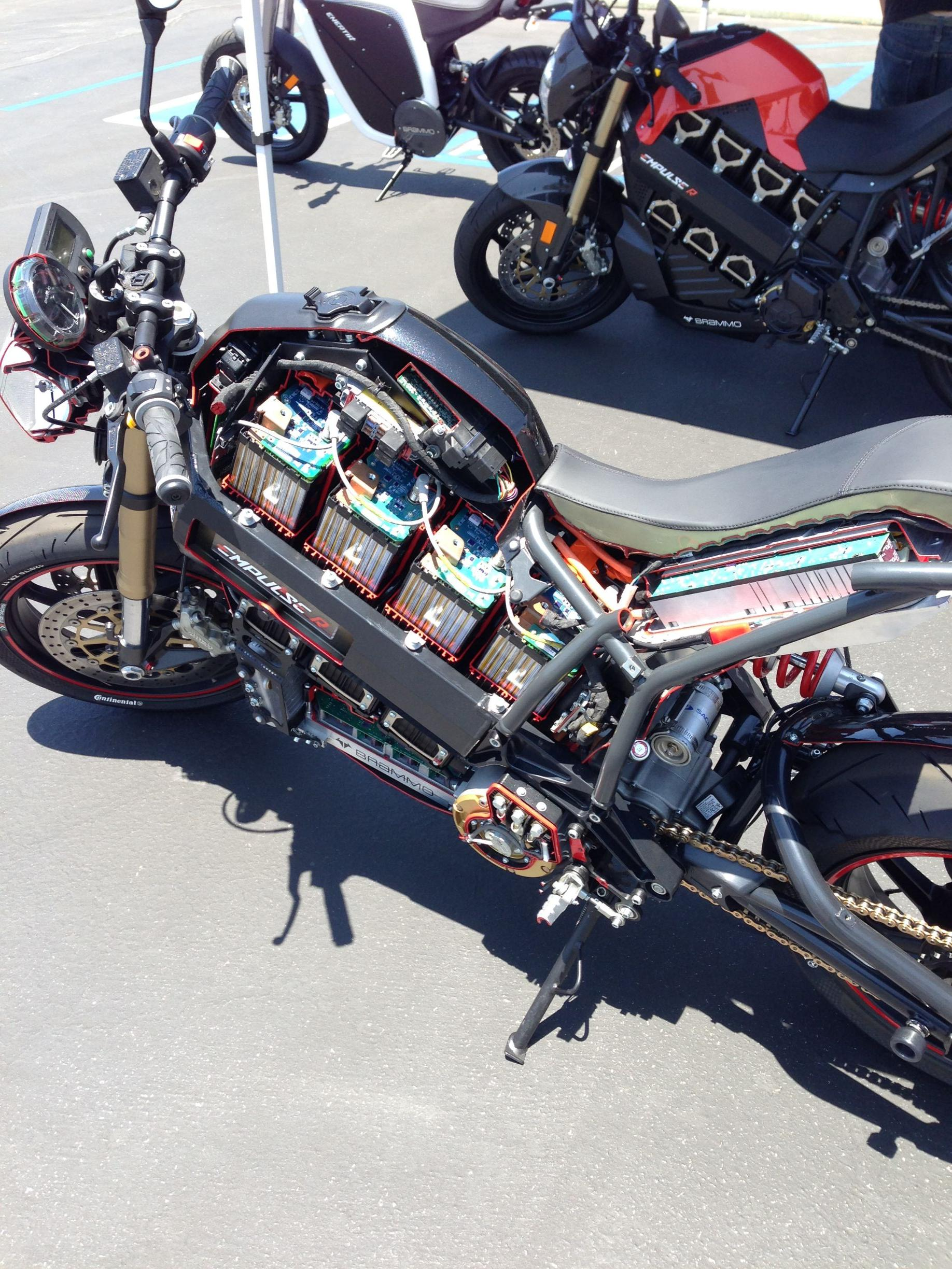 Inside of an electric motorcycle