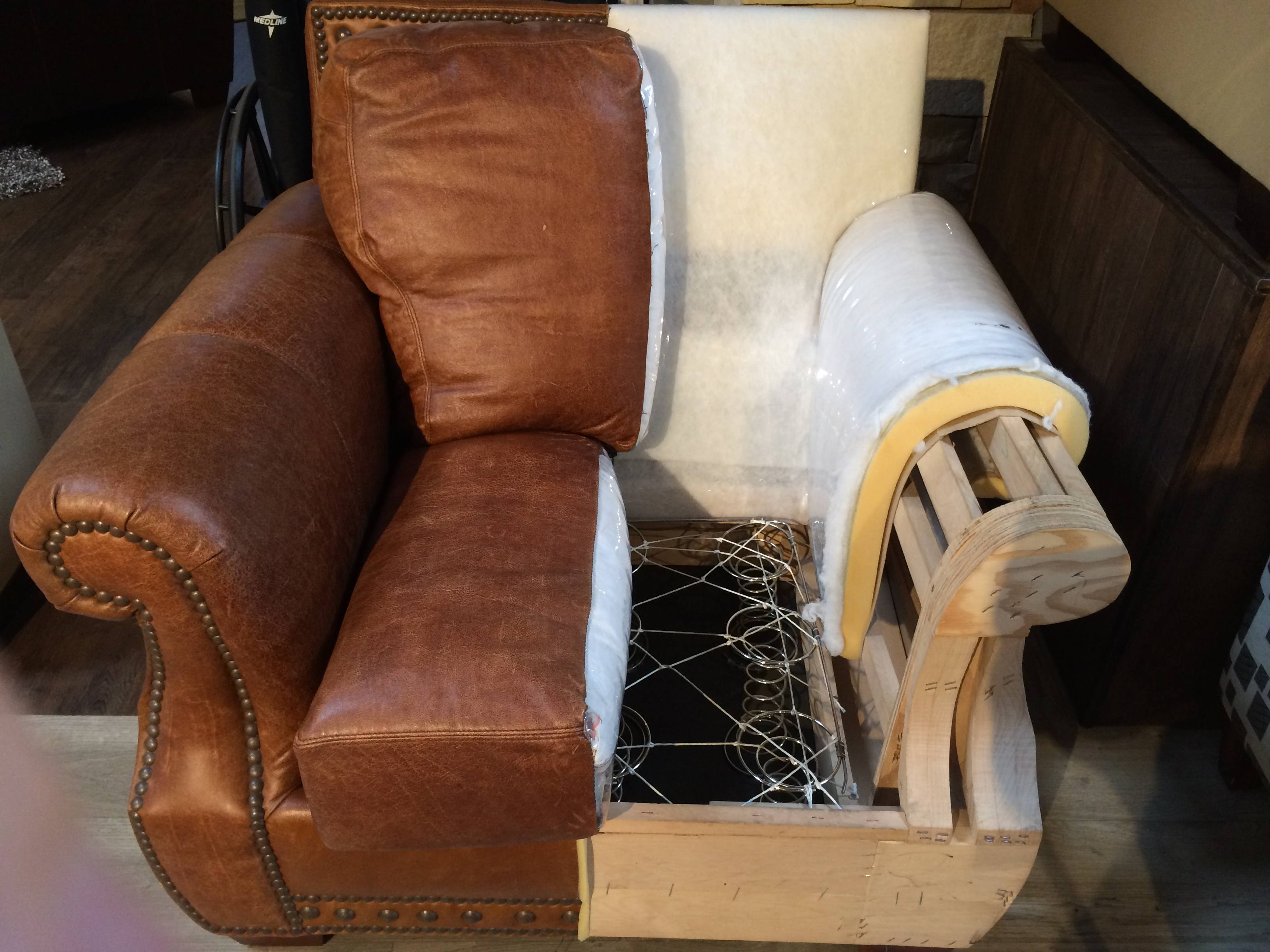 Leather arm chair display