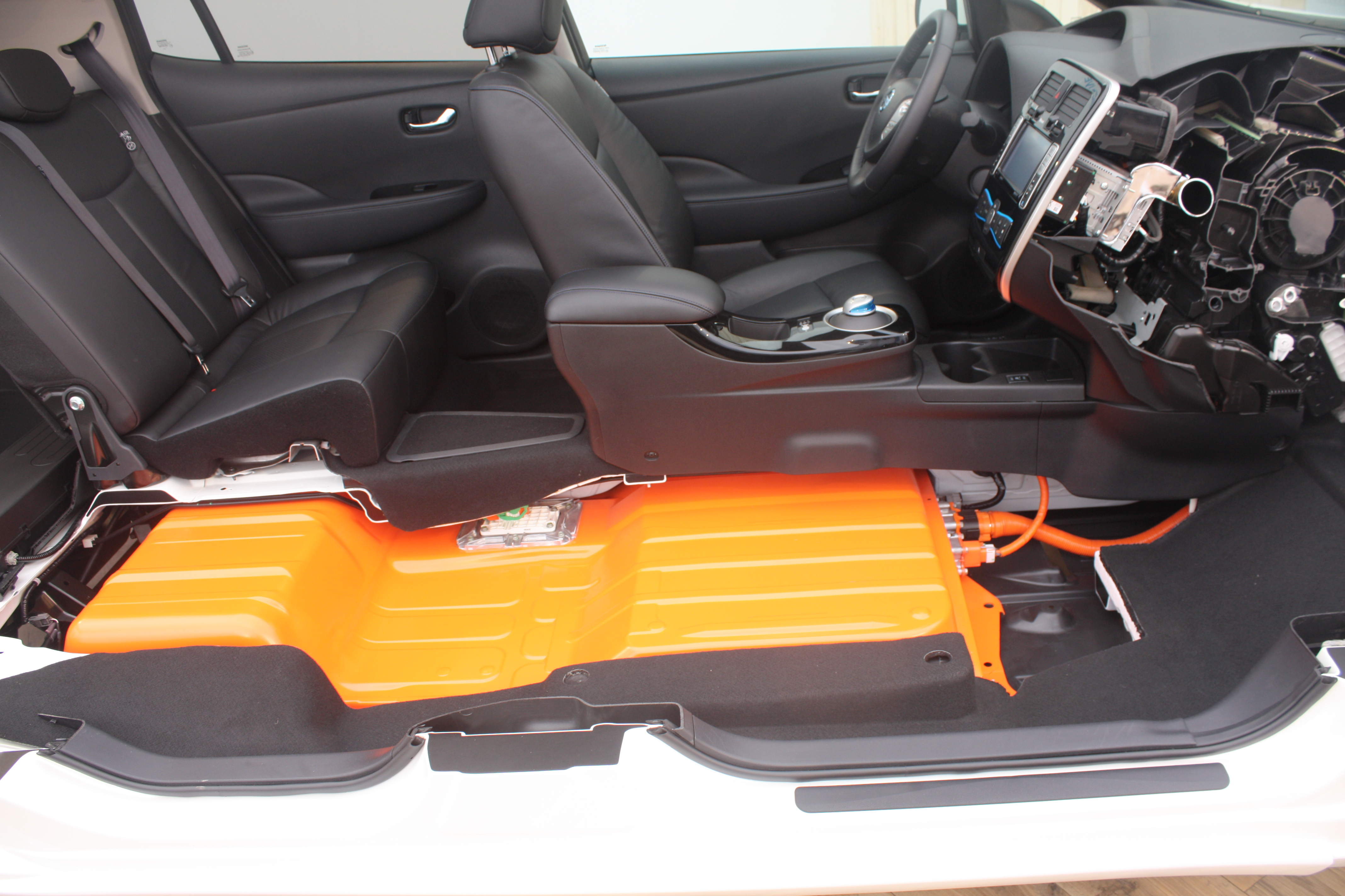 Nissan Leaf Cabin cross section exposing its Battery Pack