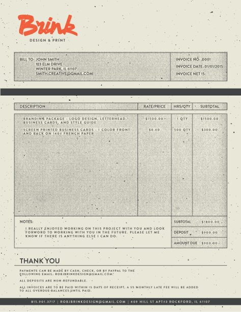 2015 Invoice by Rob Brink
