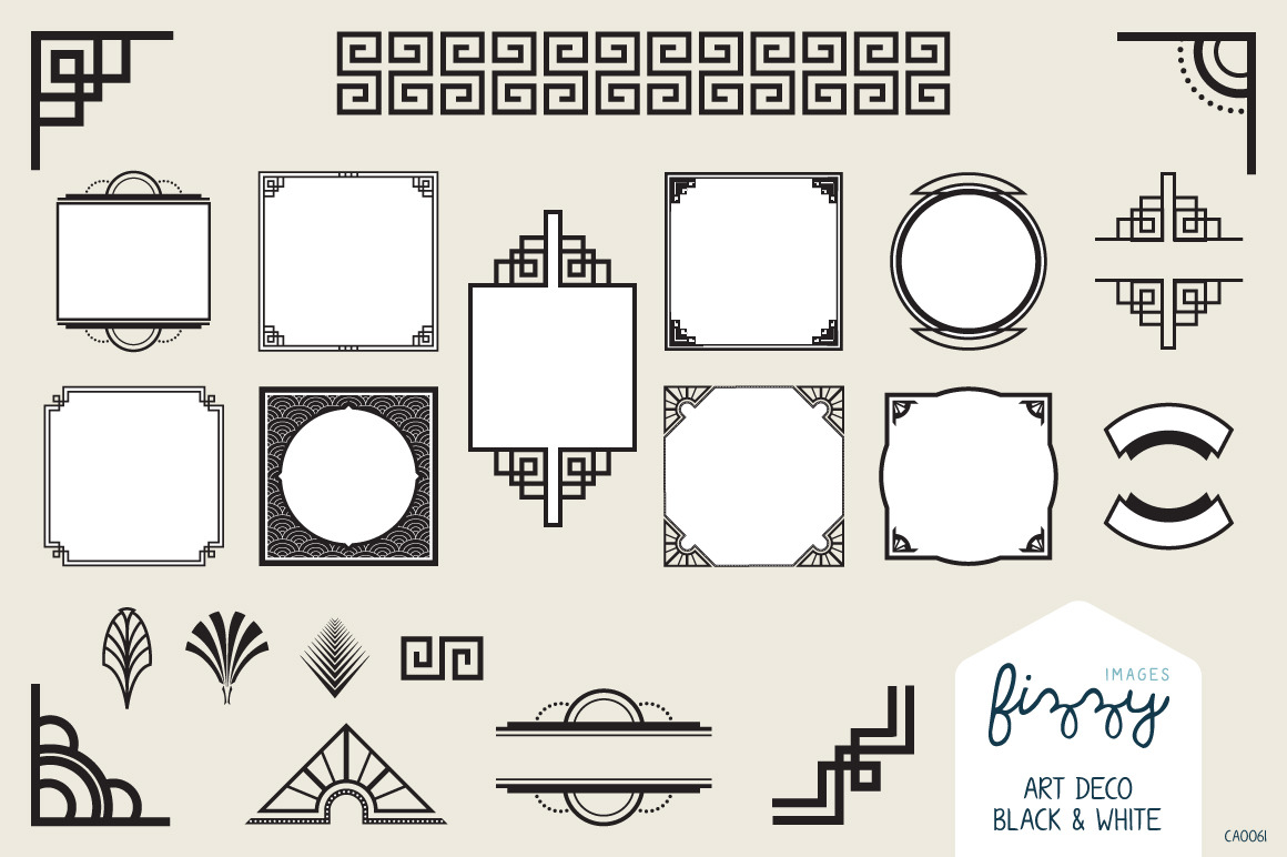 25 X Art Deco Black Vector Elements