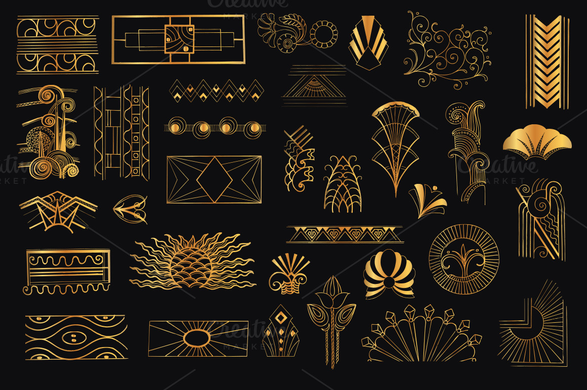 Vintage Hand Drawn Art Deco Elements For Decoration And Design