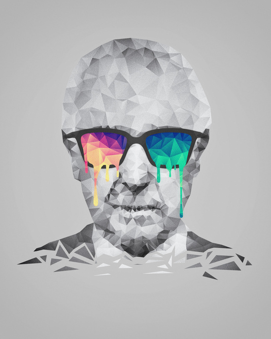Albert Hofmann - Psychedelic Polygon Low Poly Portrait by Badbugs_art