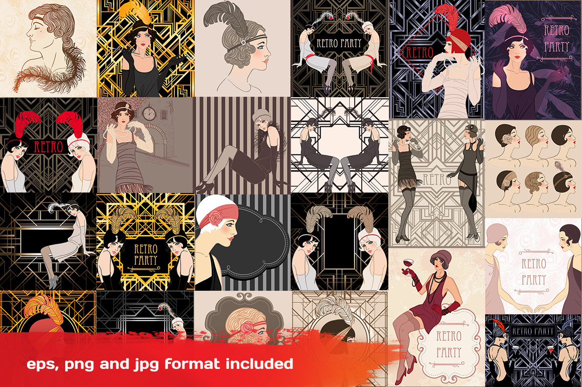 Art Deco Girls Illustrations