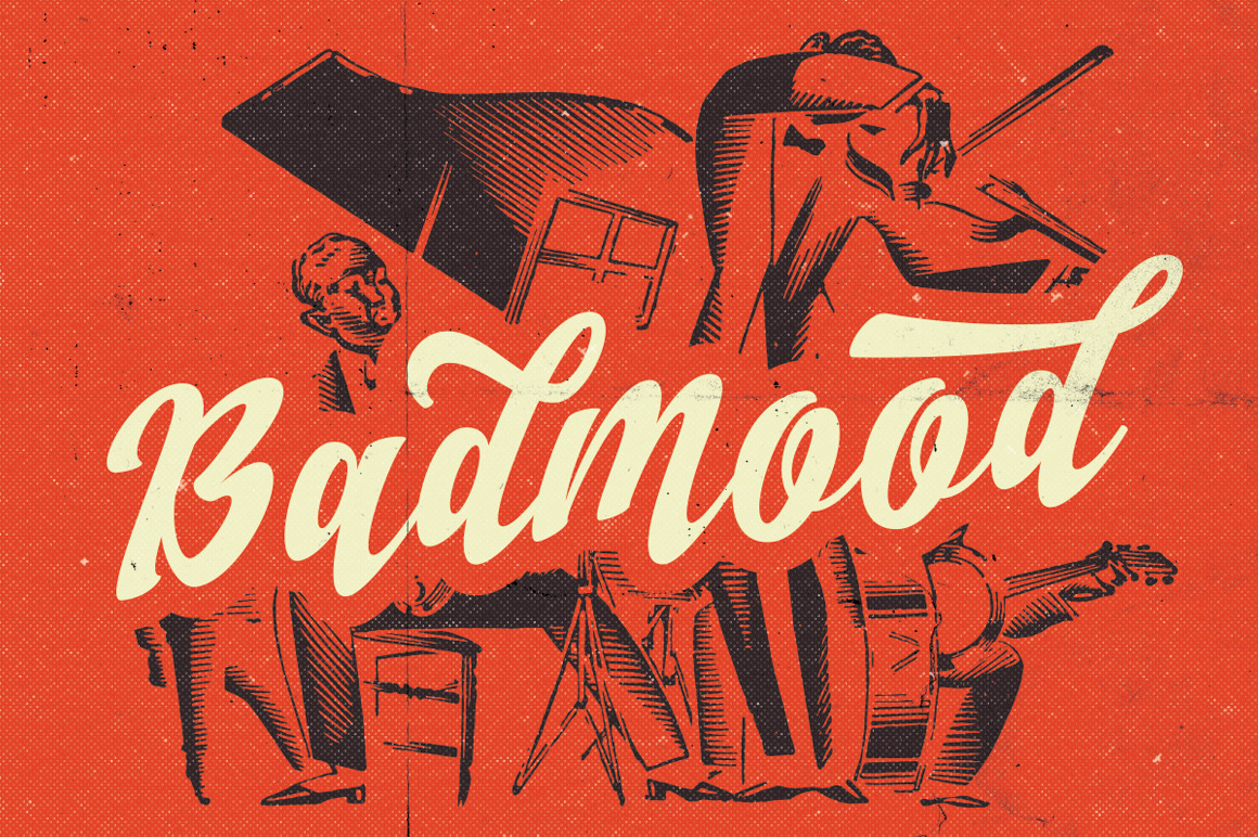 30s poster design - Badmood Is A Hand Lettered Script Font For Multipurpose Usage Poster Advertisement Wedding Invitation Greeting Card Branding T Shirt Design Etc