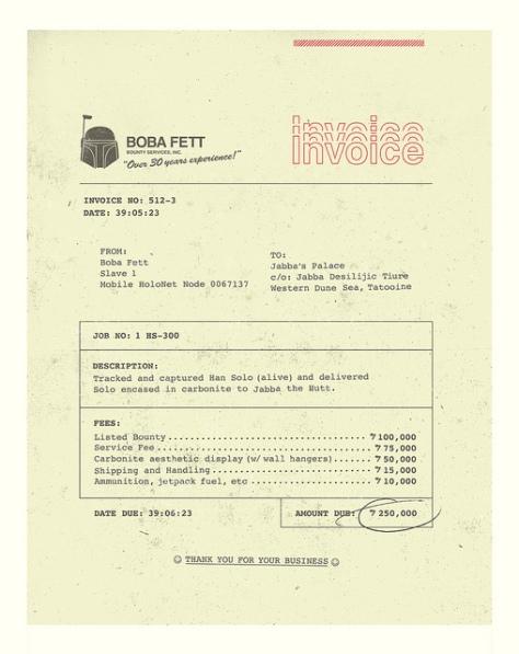 Boba Fett Invoice by Brock Davis