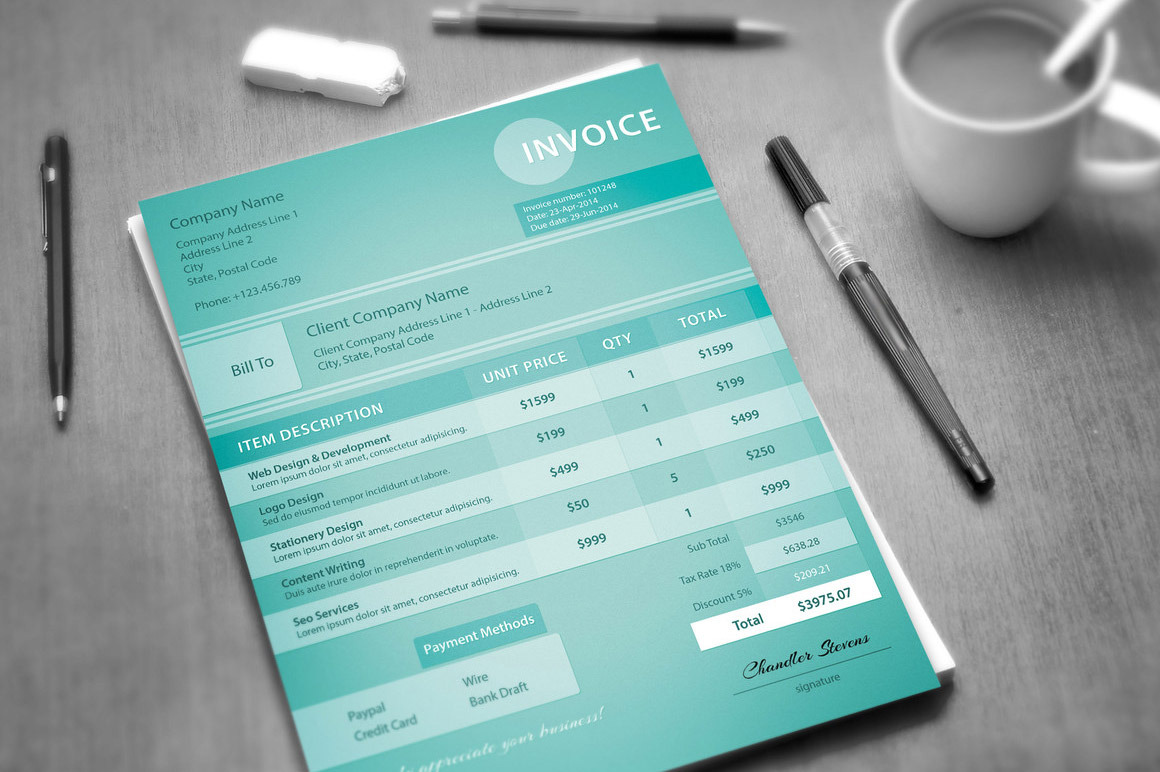 Creative Invoice Template by Visual Impact