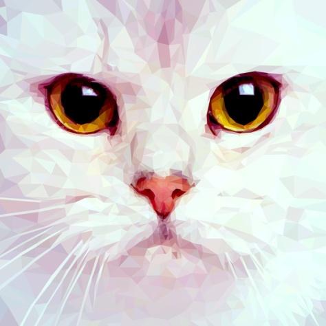 Geometric White Cat by House Of Jennifer