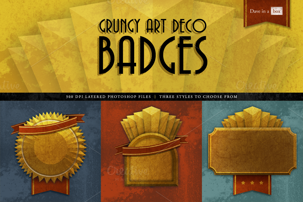 Grungy Art Deco Badges