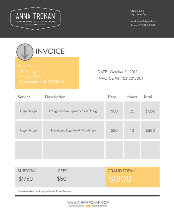 Freelance Design Invoice Template slicesofboulder – Graphic Design Invoice Template