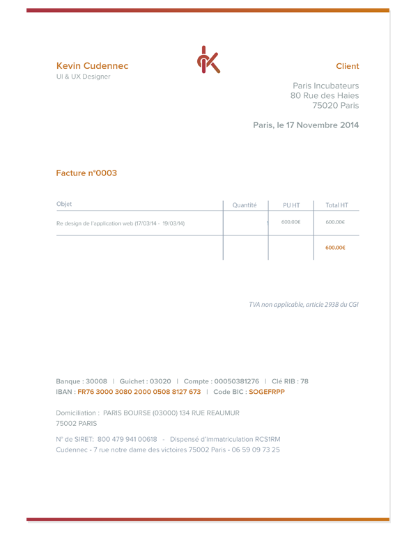 Invoice by Kevin Cdnc