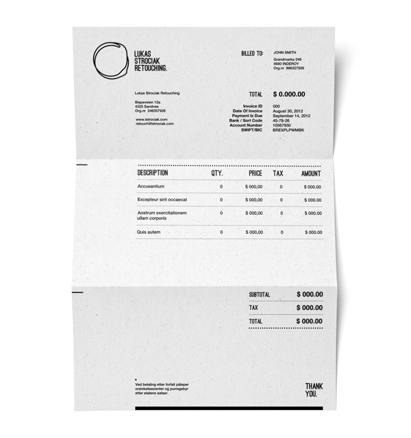 Lukas Strociak Invoice