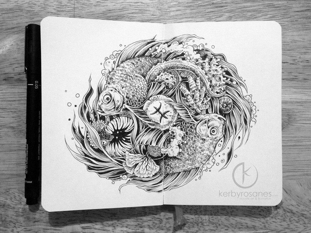 moleskine_doodles__pisces_by_kerbyrosanes-d7tqxvb