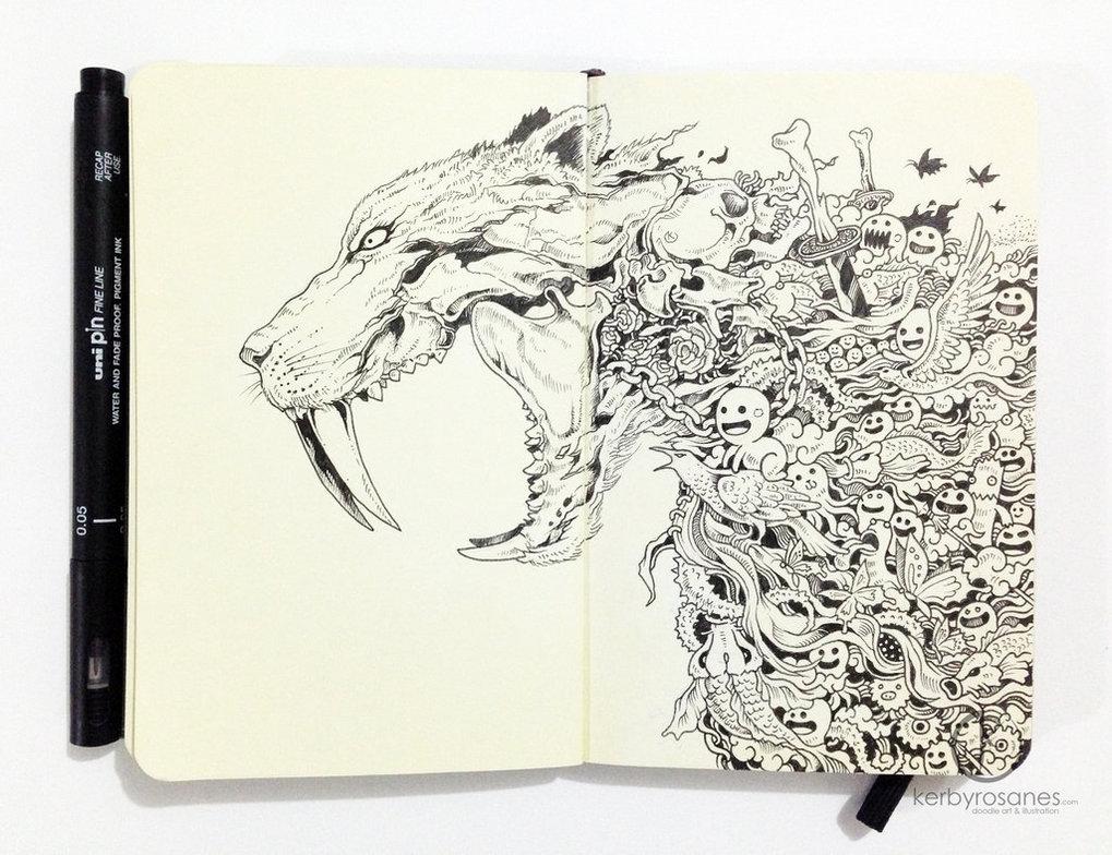 moleskine_doodles__saber_tooth_by_kerbyrosanes-d6pog5y