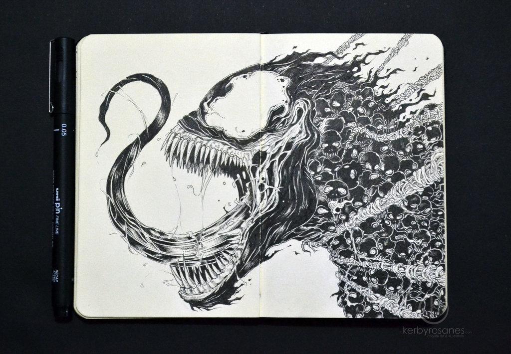 moleskine_doodles__venomous_by_kerbyrosanes-d6y9gm0