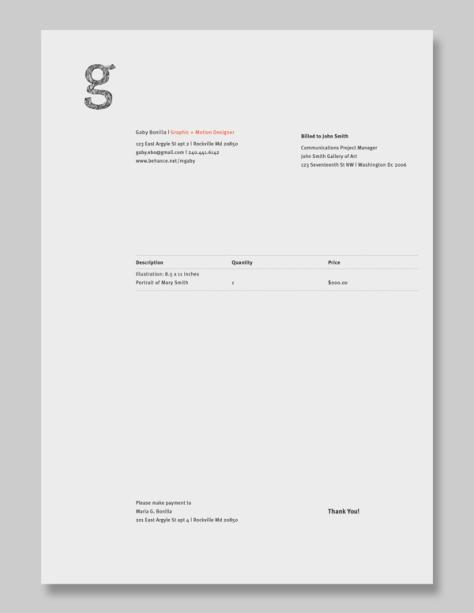 Personal Invoice by Gaby Bonilla-Escala