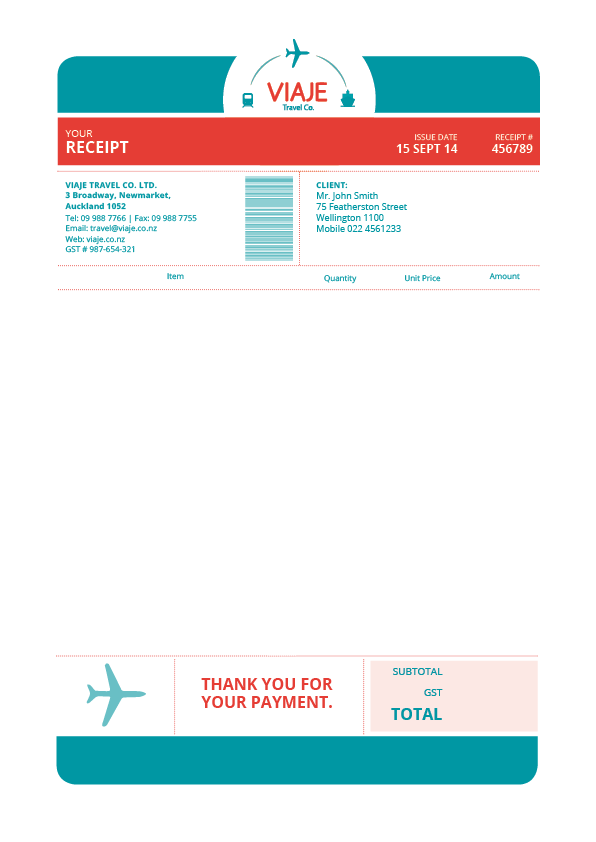 Viaje Travel Co. Invoice by Andrea Aragon