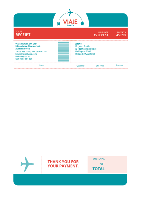 Viaje Travel Co. Invoice by Andrea Aragon