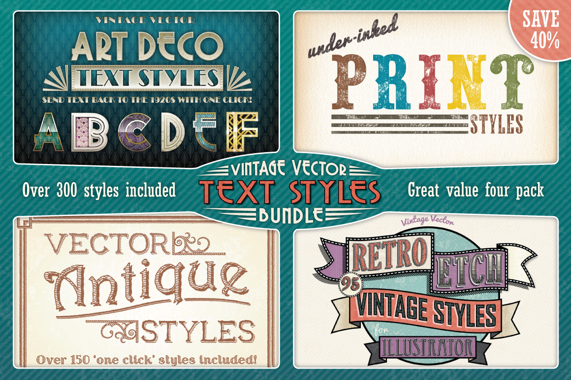 Vintage Vector Text Styles Bundle