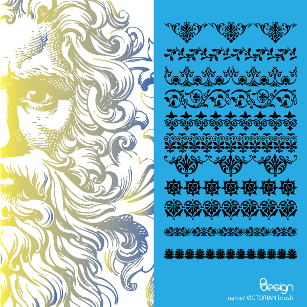 11 Vector Victorian Ornaments Brushes