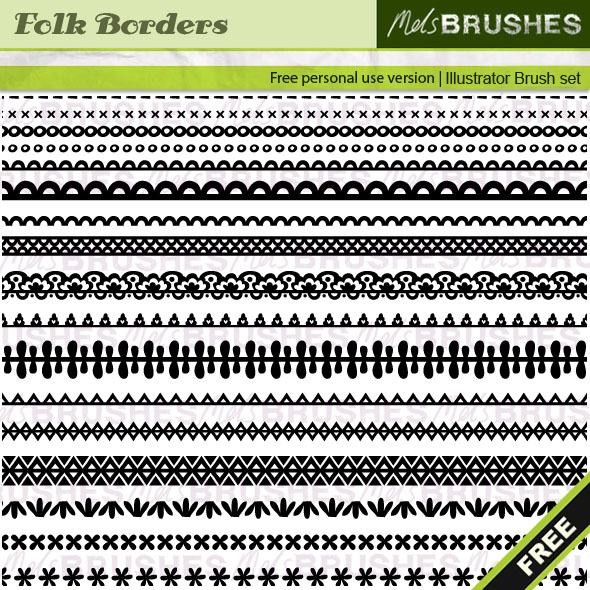 17 Folk Border Pattern Brushes