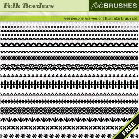 17 Folk Border Pattern Brushes