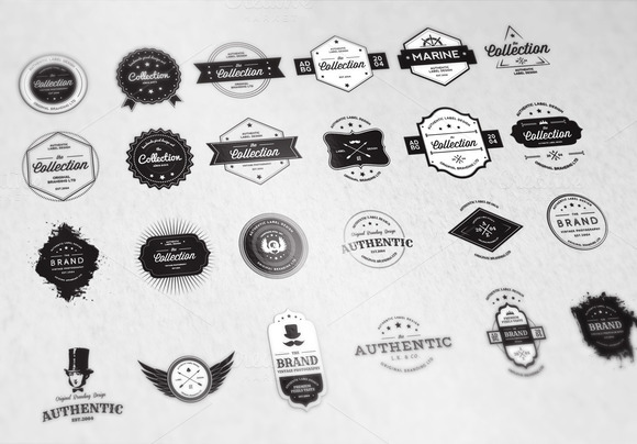 24 Vintage Badges Bundle