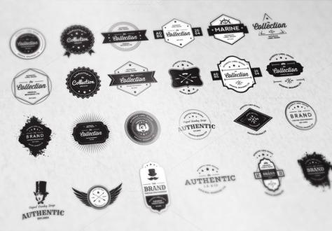 24 Vintage Badges Bundle