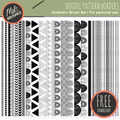 28 Doodle Pattern Zentangle Brushes