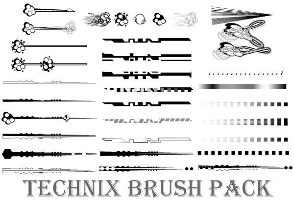 34 Technix Vector Illustrator Brushes