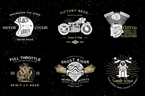 6 Vintage Motorcycle Logo Templates
