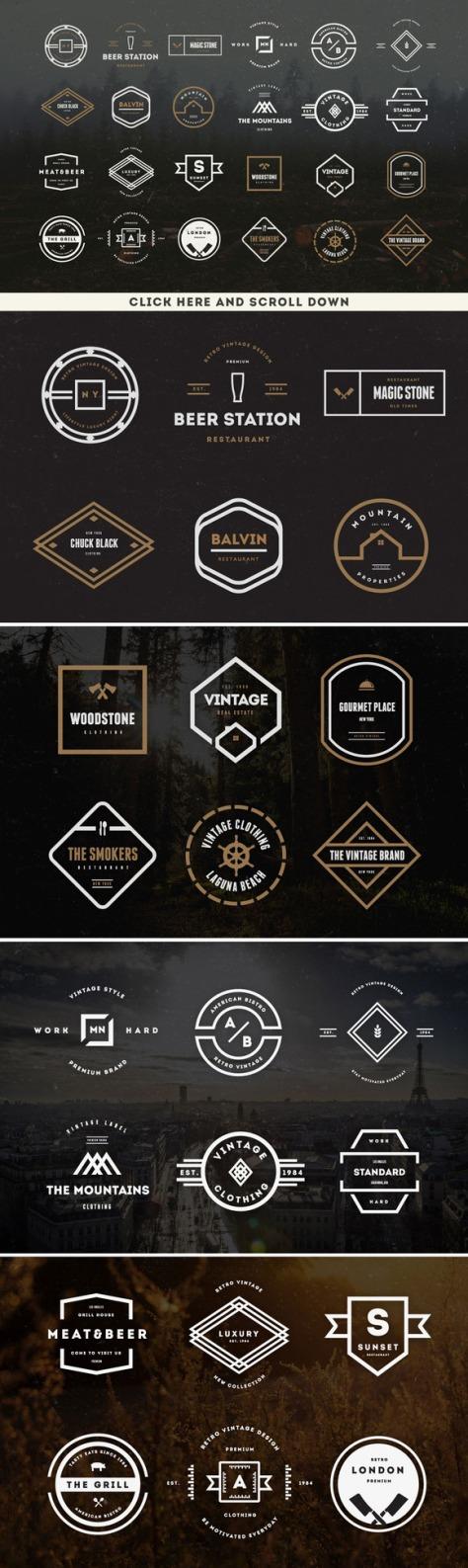 73 Vintage Logos Badges