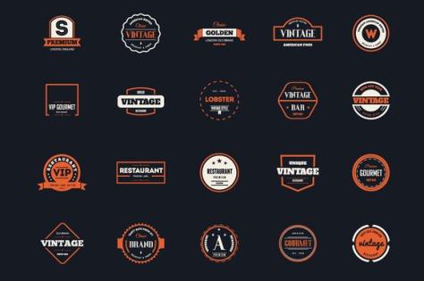 74 Vintage Labels & Badges