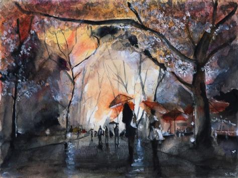 Autumn rain - watercolor by Nicolas Jolly