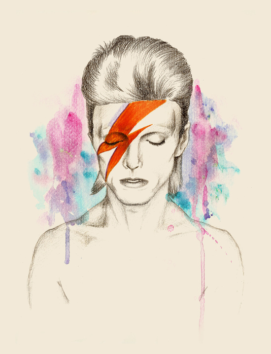 Watercolor Bowie by Sabrina Eras