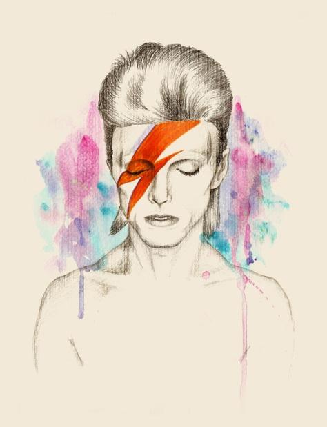 Watercolor Bowie by Sabrina Eras