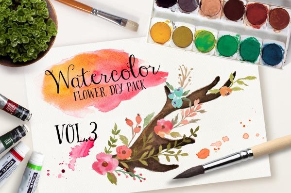 Watercolor flower DIY pack Vol.3