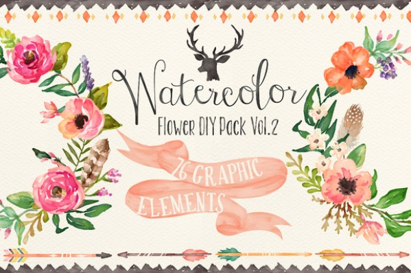 Watercolor flower DIY