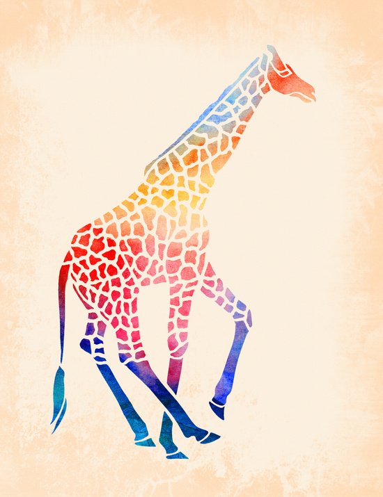 Watercolor Giraffe by Jacqueline Maldonado