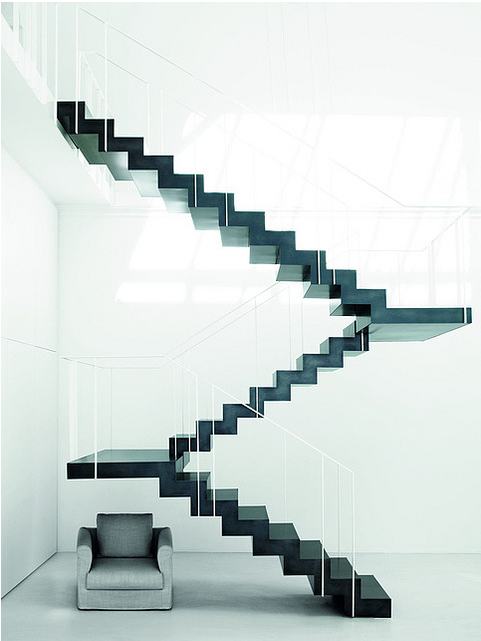 Black Stairs in a White Loft