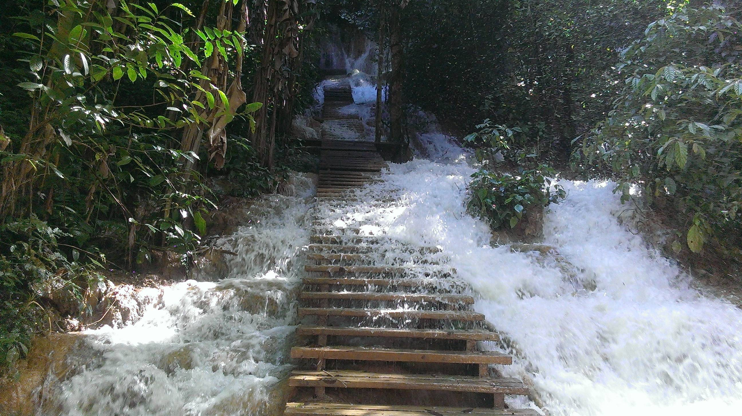 Flooded stairs at Luang Prabang, Laos