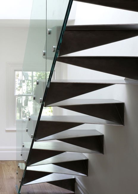 Folded steel %22origami%22 stairs by Bell Phillips