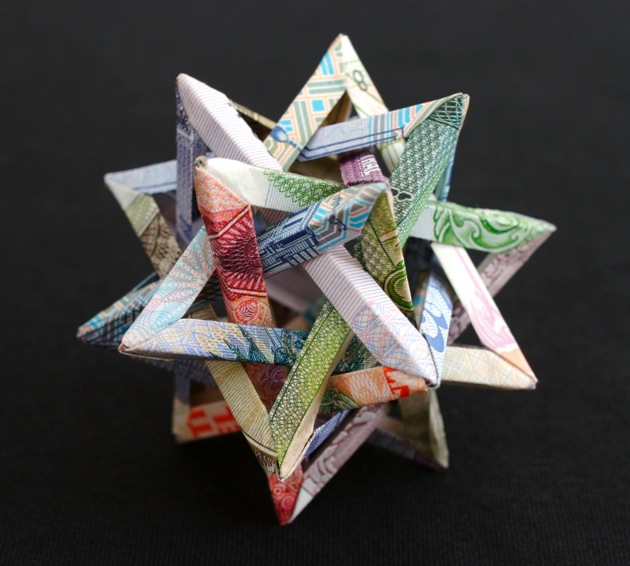 Geometric Currency Sculptures Folded by Kristi Malakoff
