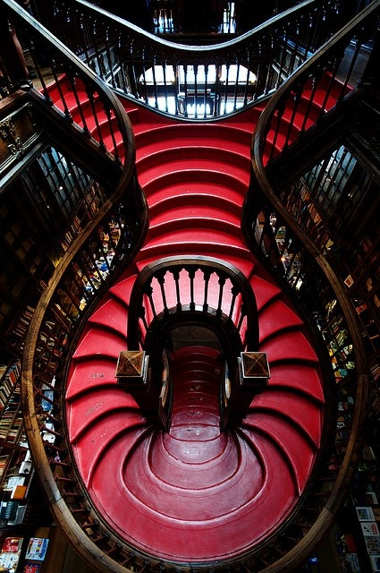 Stairs inside a bookstore in Portugal