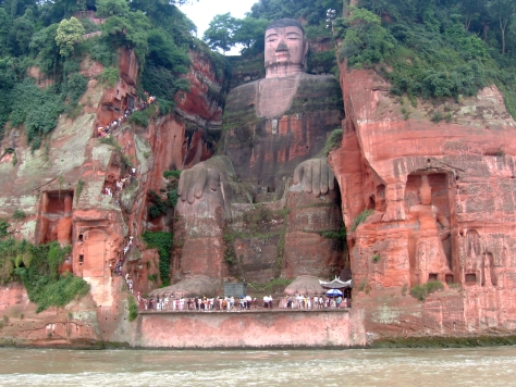 Stairs next to the Leshan Giant Buddha.