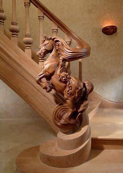 Wooden Horse Stair Rail